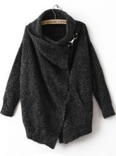 Black Lapel Long Sleeve Ouch Cardigan Sweater $38.08 - can attach pin myself?
