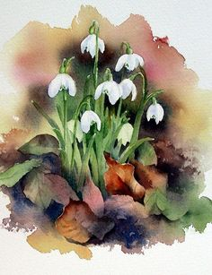 This image is a wonderful illustration that beauty can be found not only in the fresh and delicate first spring flowers of the season but also in crisp dead leaves. Wonderful artistic use of the watercolour medium. Watercolour Painting, Watercolor Flowers, Painting & Drawing, Watercolors, Watercolor Water, Painting Flowers, Art Floral, Watercolor Pictures, Art Et Illustration