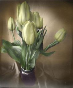 Kristy Hom / Pinhole Still Life: tulips / Gingerbread cam pinhole camera, paper negative, 22 min exp, developed in Caffenol C, color added in photoshop / 2014