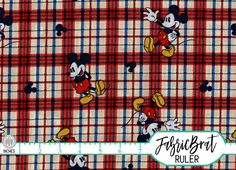 PLAID MICKEY MOUSE Fabric by the Yard Fat Quarter Disney