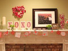 xoxo - hearts - valentine's day mantel