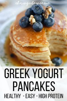 These easy Greek yogurt pancakes are the perfect homemade pancake recipe. Light fluffy made with whole grains high in protein and perfect for stacking - they taste with maple syrup and blueberries! Homemade Pancakes, Pancakes Easy, Healthy Protein Pancakes, Breakfast Pancakes, Recipe For Fluffy Pancakes, Protein Pancake Recipes, Best Healthy Pancake Recipe, Health Pancakes, Low Calorie Pancakes