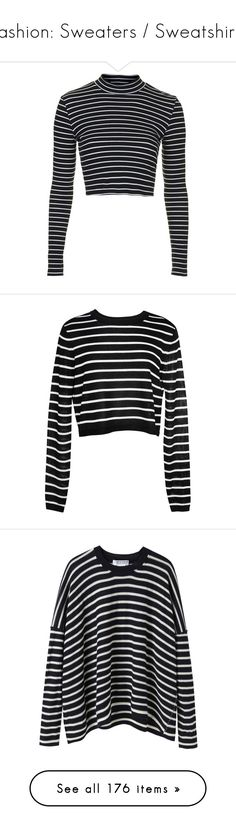 """Fashion: Sweaters / Sweatshirts"" by katiasitems on Polyvore featuring tops, crop tops, shirts, topshop, stripe, navy blue, navy crop top, striped long sleeve shirt, long sleeve shirts and long sleeve cotton shirts"