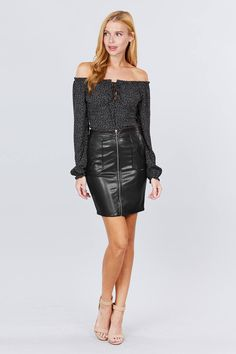 Pu Leather Mini Skirt W/zipper | KjSelections Faux Leather Skirt, Leather Mini Skirts, Pu Leather, Mini Pencil Skirt, Red High, Mini Shorts, Small Waist, Black And Grey, Color Black