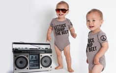 lettuce turnip the beet  organic cotton  grey onesie by coup, $25.00
