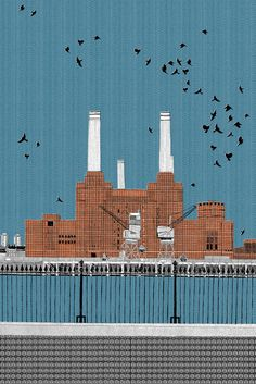 Clare Halifax Battersea Power Station Print Club London Screen Print Battersea Power Station, Art Deco Stil, Urban Architecture, Architecture Mapping, Building Art, London Art, London Photos, Silk Screen Printing, Urban Art