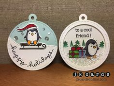 Scrap-A-Latte Lawn Fawn November Card Class Two Tags. Lawn Fawn Toboggan Together and Coordinating Lawn Cuts, Lawn Fawn Stitched Circle Tags, Forest Border, Stitched Circles and Stitched Hillside Borders Lawn Cuts, Clear Glass Seed Beads