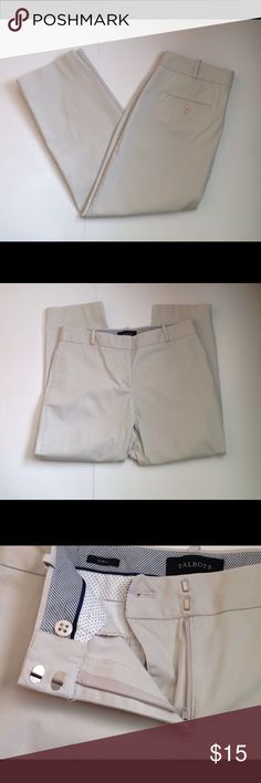 """TALBOTS CURVY FIT  KHAKI CAPRI PANTS SIZE 8 Medium weight khaki capris. Front right side slit pocket sits just below lined waist band with belt loops. Front closure includes a zipper, hooks, and button. Back buttoned slit pockets. 1 1/2"""" slits on each outer hem. Curvy fit sits just below the waist. MEASUREMENTS: waist 16 1/2"""", top of waist band to crotch seam 10"""", crotch seam to hem 25"""", widest part of hip 20"""", hem width 7 1/2."""" 98 % cotton and 2% spandex giving fabric some stretch. In…"""