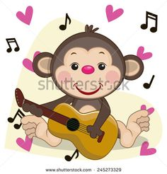 Monkey with a guitar on background music and hearts  - stock vector