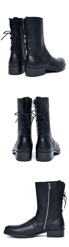 Back Lace Side Zip Designer Biker Boots-Shoes 529 - GUYLOOK