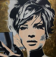 Monica Vitti - tela 120x120 Warhol style - tecnica mista