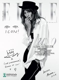 Alexa Chung for Elle Brazil // hat & oversized white shirt // Photo by Nicole Heiniger #style #fashion #celebrity