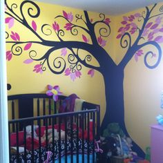 The tree mural I painted on my daughters wall xo