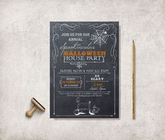Halloween Invitation  Chalkboard Scary Halloween by tranquillina