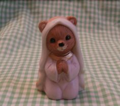 Teddy Bear Mary Christmas Nativity Figure, Vintage Homco Creche Bisque Figurine https://etsy.me/2voAdut #vintage #collectibles #brown #christmas #purple #figurine #nativityset #teamwwes #nativity