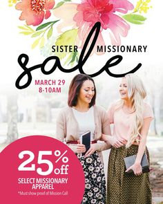 Calling all missionaries! We have an event for locals who are working on papers, turned them in, or have a call! TAG them to let them know. They do not want to miss this sale, giveaway, and more! #sistermissionarysale #event #mikarose #utah #locals