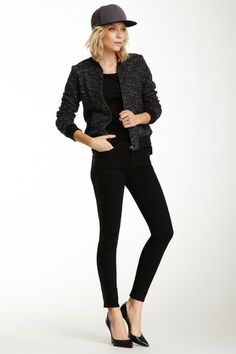 Black Jewel Sequin Mid Rise Skinny Jean by Black Orchid on @HauteLook