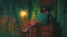 Rihanna DJ Khaled Wild Thoughts music video Alberta Ferretti sheer off-the-shoulder dress, Rihanna x Manolo Blahnik Poison Ivy embellished gladiator sandals