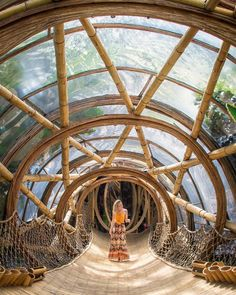 Bali, Indonesia An all-bamboo village in Bali, this resort is known for its eco-friendly practices and chic treehouses. The treehouse building pros here even Bamboo Architecture, Architecture Design, Classical Architecture, Staircase Architecture, Modern Staircase, Casa Bunker, Bamboo Village, Bamboo House Design, Building A Treehouse