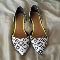 Women flats Fashionable women flats worn 3 time. A little fuzzy in the back of the shoe for cleaning them with the wrong type of shoe brush. Shoes Flats & Loafers
