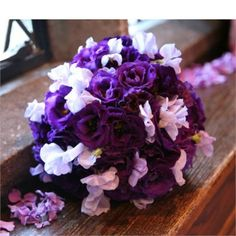 Deep purple and lilac lisianthus and sweet peas with a heavenly scent