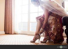 "Elegant ""getting ready"" South Asian wedding photo idea. \\ Photo Credit: Lin and Jirsa Photography"