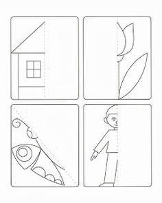 spiegelen - Google zoeken Autism Activities, Kindergarten Activities, Educational Activities, Teaching Math, Lessons For Kids, Art Lessons, Grade R Worksheets, Speed Art, Drawing Activities