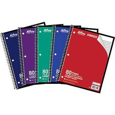 """Hilroy 1-Subject Notebook, 10-1/2"""" x 8"""", Assorted, 80 Pages"""