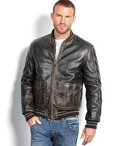 GUESS Leather Jacket with Knit Hood - Coats & Jackets - Men ...