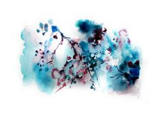 Original Watercolor Abstract Flowers Painting Fine Art Print. Abstract Floral Azure Vine. Abstract Flower Painting.