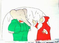 awesome Babar and Father Christmas Original Animation Cel of Babar the Elephant and Father Christmas