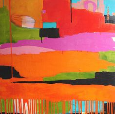 "Flora Bowley's abstract paintings, which are created from her philosophy of ""let go, be bold, and unfold"""