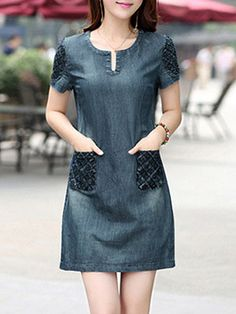 Round Neck Patch Pocket Shift Dress Shop sexy club dresses, jeans, shoes, bodysuits, skirts and more. Cheap Dresses, Casual Dresses, Fashion Dresses, Denim Dresses, Discount Dresses, Trendy Dresses, Women's Dresses, Womens Denim Dress, Embellished Dress