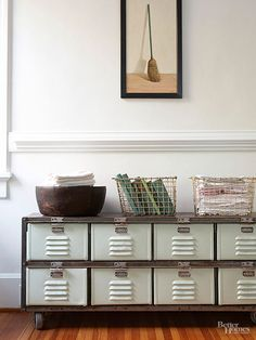 Storage doesn't stop at the locker room. Incorporate metal lockers into your living room, entryway, bedroom, and beyond with these clever decorating ideas./