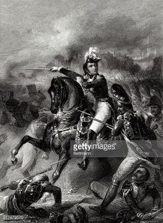 An engraving depicting the French general Jean Lannes who died of his war wounds shortly after the battle at AspernEssling during the Napoleonic Wars