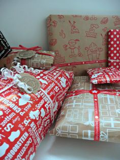 Craft Gifts, Cool Gifts, Red And White, December, Wraps, Presents, Gift Wrapping, Holiday, Christmas