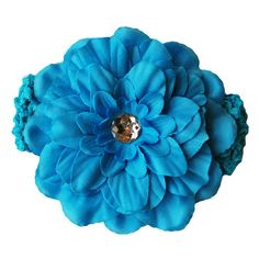 Stunning soft & stretchy crochet headbands with a gorgeous gem-centred flower - so amazing for photos! A beautiful accent to any outfit, for every little princess! Soft and stretchy - will fit newborn up to teen! Peony Flower, Flowers, Blue Peonies, Crochet Headbands, 7 Layers, Little Princess, Gem, Hair Accessories, Scrapbook