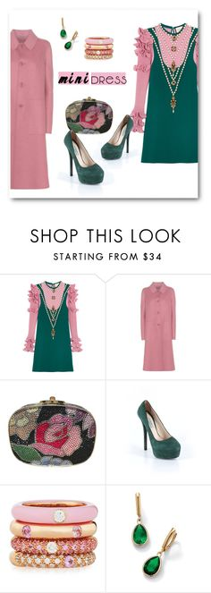 """Pink & Evergreen"" by metter1 ❤ liked on Polyvore featuring Gucci, Bottega Veneta, Judith Leiber, Prada, Adolfo Courrier and Palm Beach Jewelry"