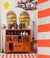 eclectic orange decor cabinet color