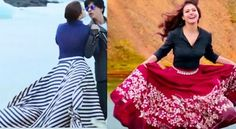Kajol in Long Skirts in Gerua Song from Dilwale