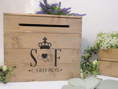 Personalised Rustic Wooden Wedding Card Post Box Vintage Wedding Card Box…