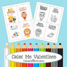 Fun Valentine's Day cards for kids - Color Me Valentines with free printables!