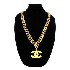 Chanel Necklace vintage gold chain cc logo belt charm