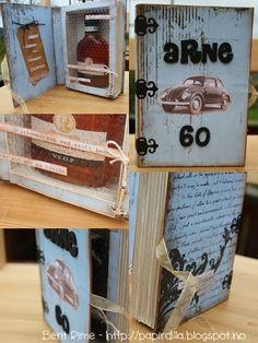 En bok med en flaske cognac i - mer i bloggen min http://papirdilla.blogspot.no