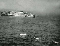 The Sinking of the Andrea Doria - On July 25, 1956, approaching the coast of Nantucket, Massachusetts, bound for NY City; Andrea Doria collided with the east-bound MS Stockholm of the Swedish American Line in what became one of history's most infamous maritime disasters. Struck in the side, the top-heavy Andrea Doria immediately started to list severely to starboard, which left half of her lifeboats unusable. 1660 passengers and crew were rescued and survived, while 46 people died.