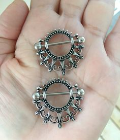 Set of 2 Vantage Style Lace Nipple Rings .Big by wirewirewire