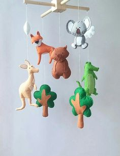 Australian animals baby crib mobile Nursery felt mobile Trees