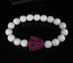 Turquoise Dark Purple Happy Smile Buddha & White Ball Beads Stretch Bracelet 626