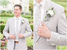 Salt Lake Temple and Ensign Peak Formal Session Gray Groomsmen Suits, Groom And Groomsmen, Grey Tux, Lds Bride, Wedding Day Gifts, Temple Wedding, Groom Wear, Utah Wedding Photographers, Groom Style