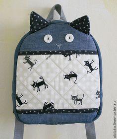 """Купить Детский рюкзак """"Котик"""" - детский рюкзак, джинсовый рюкзак, рюкзачок, коты и кошки, коты"""